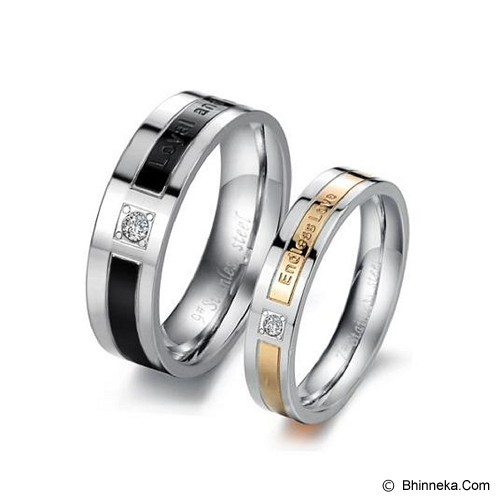 TITANIUM RING Cincin Couple Size 7(F) & 7(M) [GS278] - Gold & Black - Cincin
